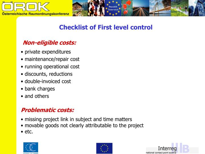Checklist of First level control