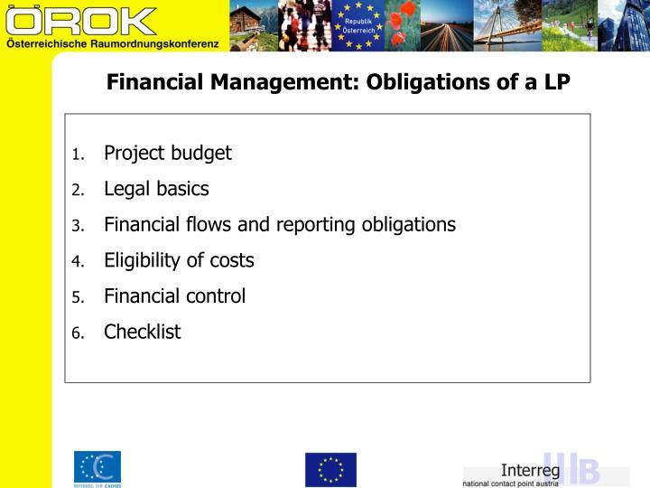Financial Management: Obligations of a LP