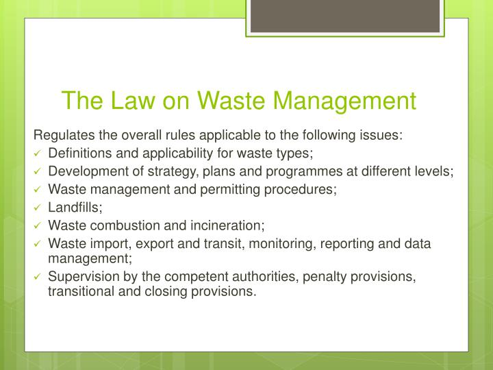 The Law on Waste Management