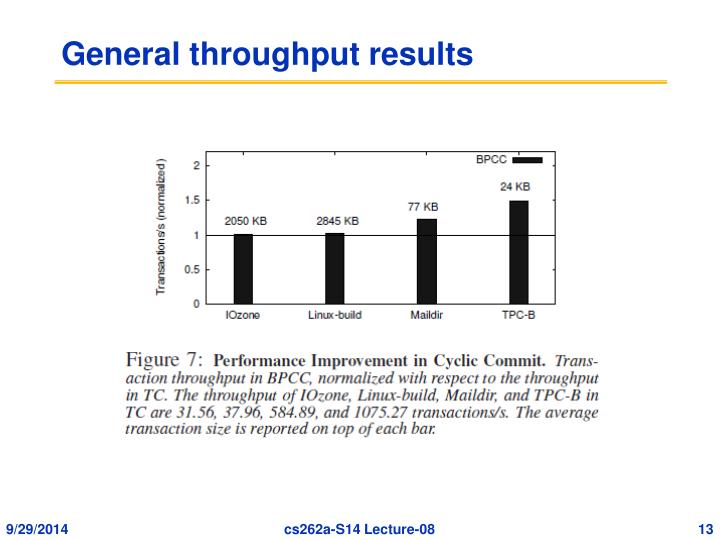 General throughput results