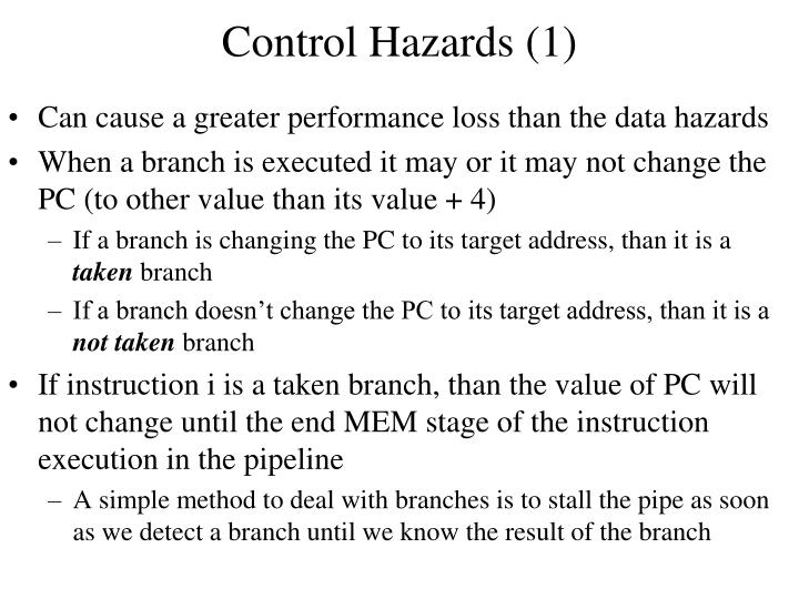 Control Hazards (1)
