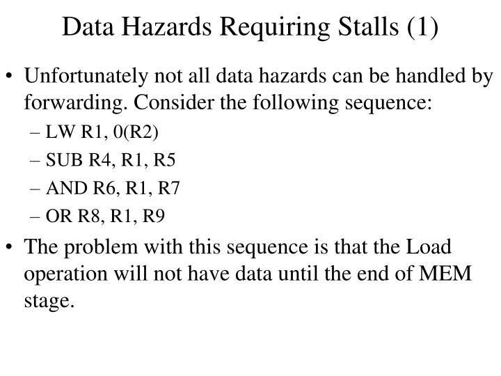 Data Hazards Requiring Stalls (1)