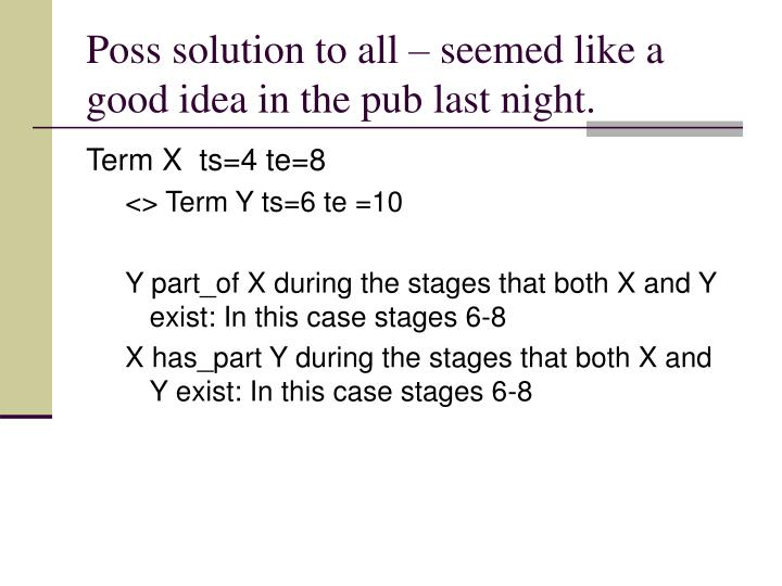 Poss solution to all – seemed like a good idea in the pub last night.