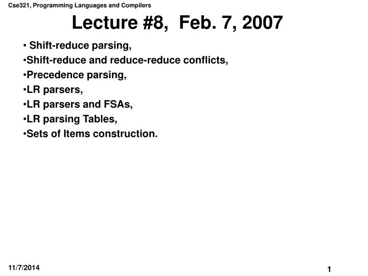 lecture 8 feb 7 2007 n.