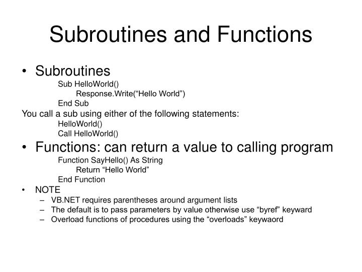 Subroutines and Functions