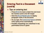 entering text in a document cont d