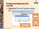 finding and replacing text cont d