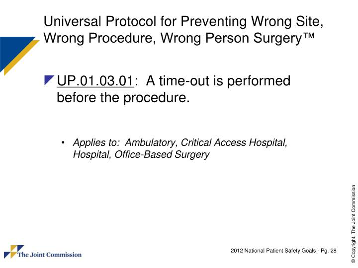 Universal Protocol for Preventing Wrong Site, Wrong Procedure, Wrong Person Surgery™