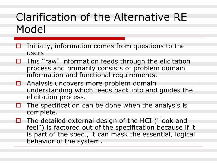 Clarification of the Alternative RE Model