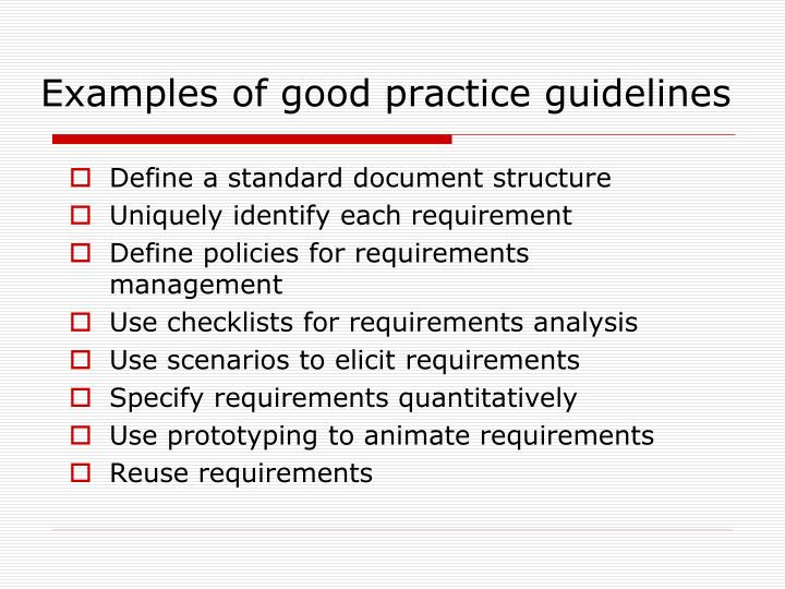 Examples of good practice guidelines