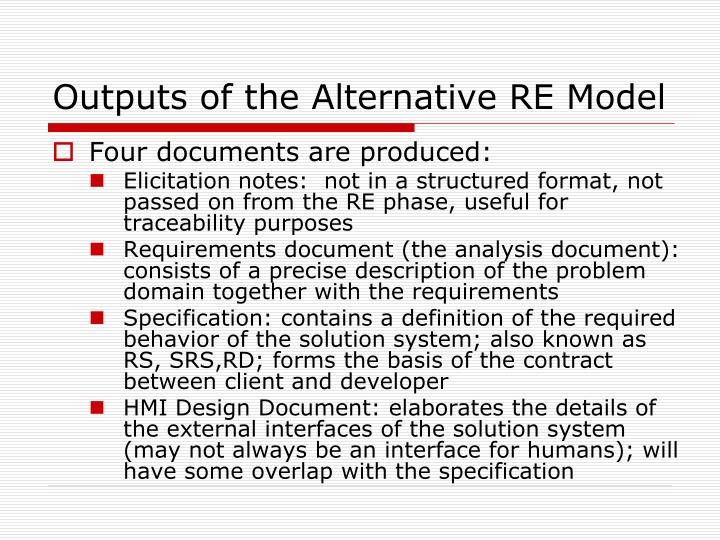 Outputs of the Alternative RE Model
