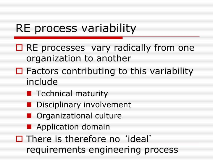 RE process variability