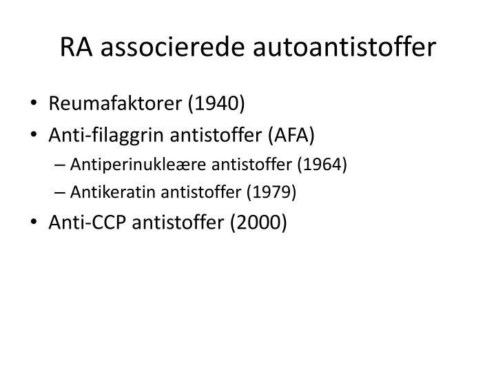 RA associerede autoantistoffer