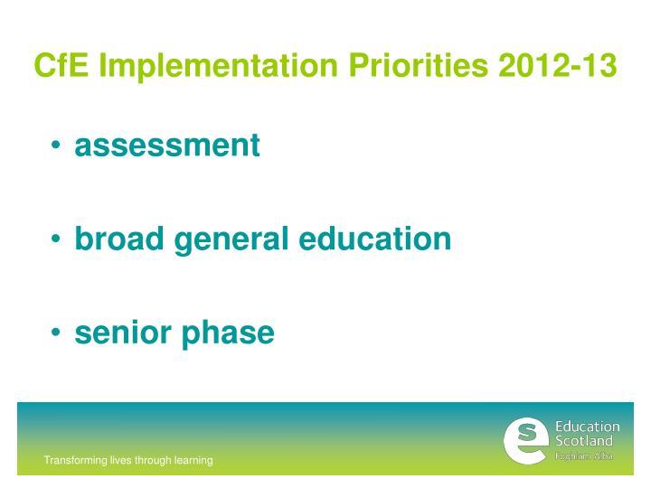 CfE Implementation Priorities 2012-13