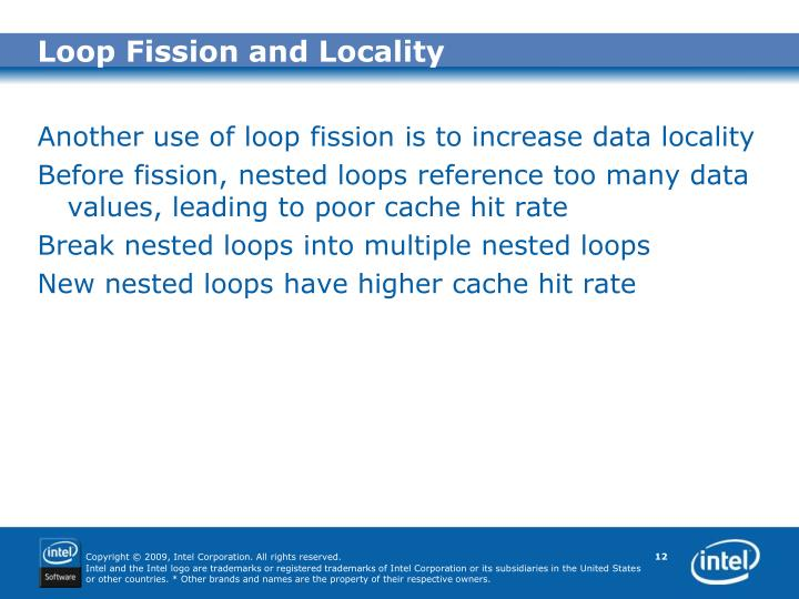 Loop Fission and Locality