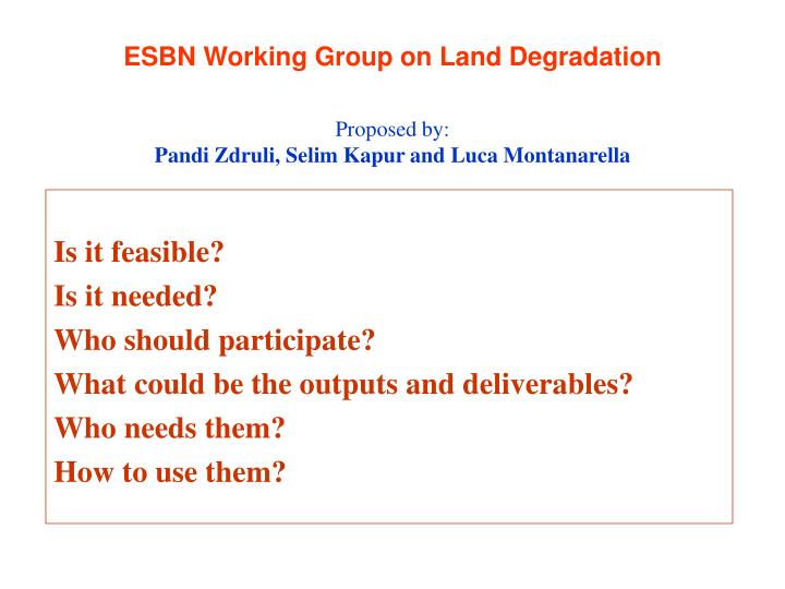 esbn working group on land degradation n.
