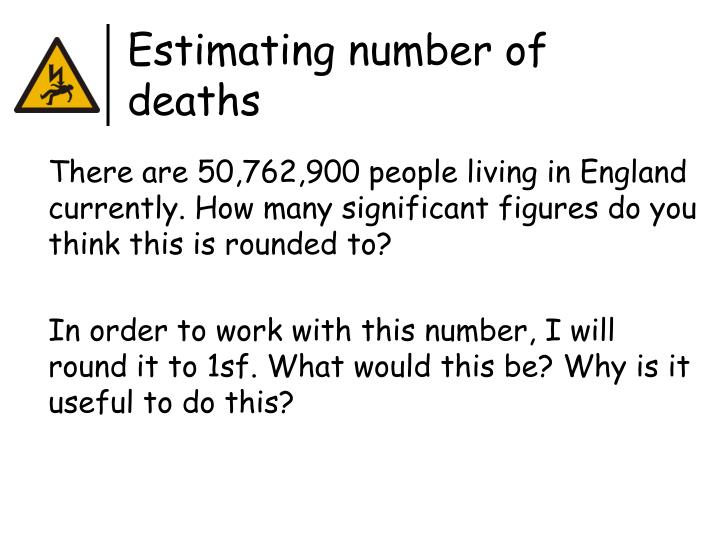 Estimating number of deaths