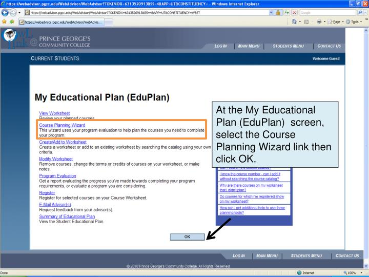 At the My Educational Plan (