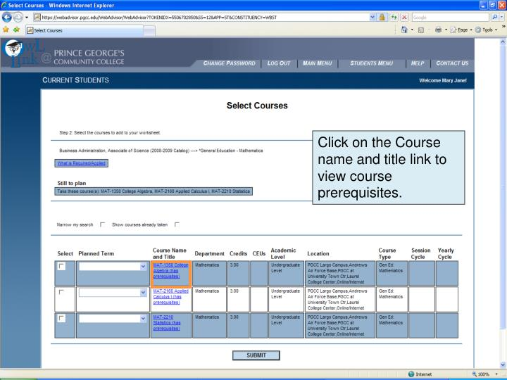 Click on the Course name and title link to view course prerequisites.