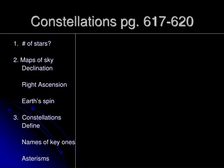 constellations pg 617 620