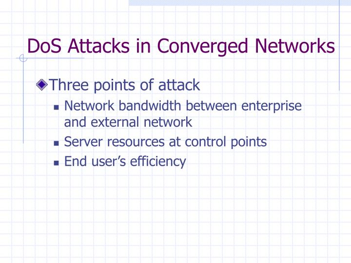 DoS Attacks in Converged Networks