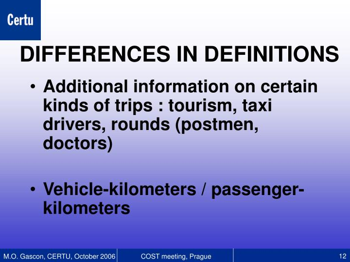 Additional information on certain kinds of trips : tourism, taxi drivers, rounds (postmen, doctors)
