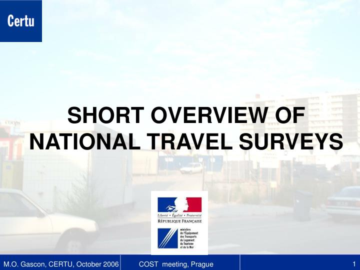 Short overview of national travel surveys