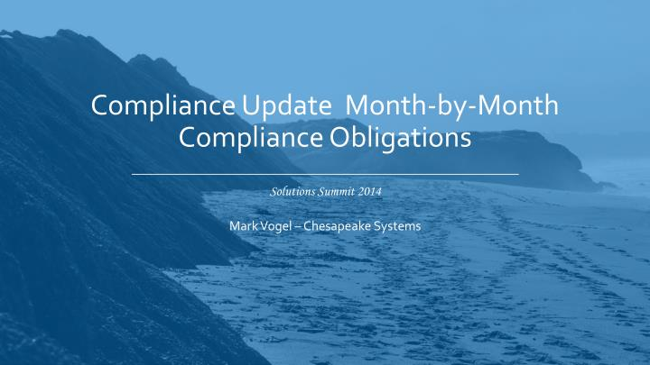 compliance update month by month compliance obligations n.