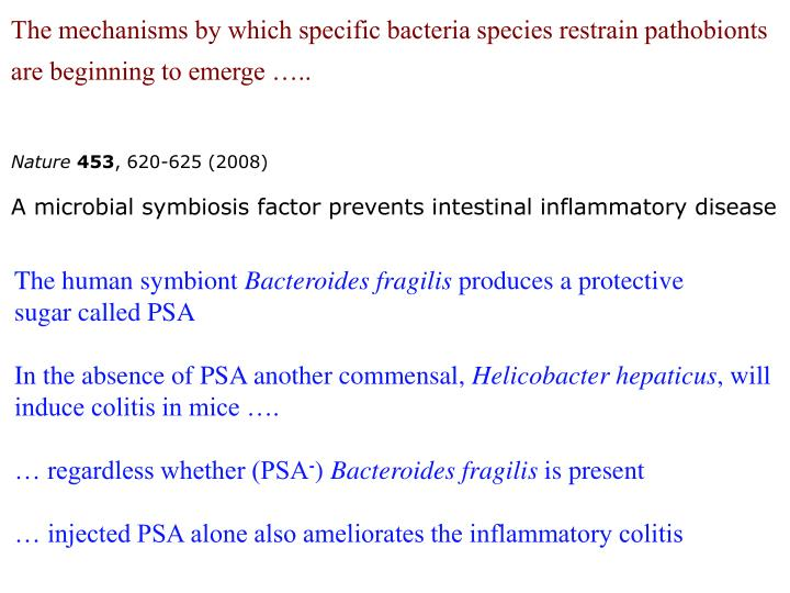 The mechanisms by which specific bacteria species restrain pathobionts