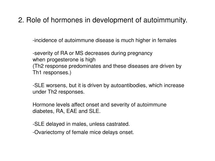 2. Role of hormones in development of autoimmunity.