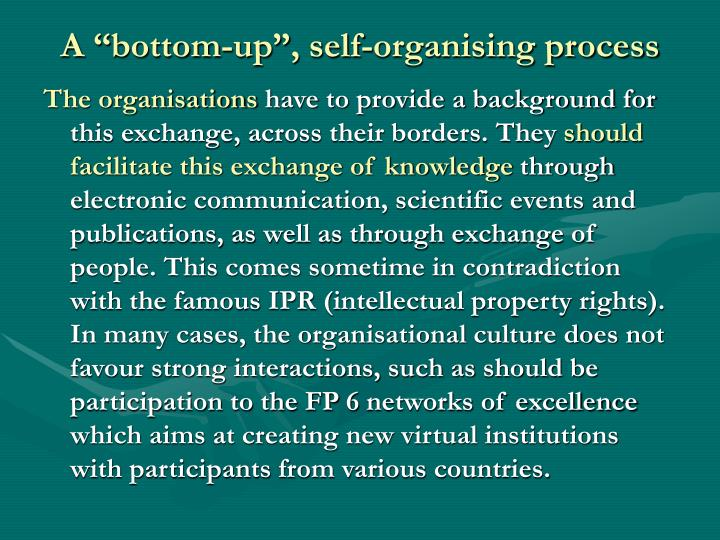 "A ""bottom-up"", self-organising process"