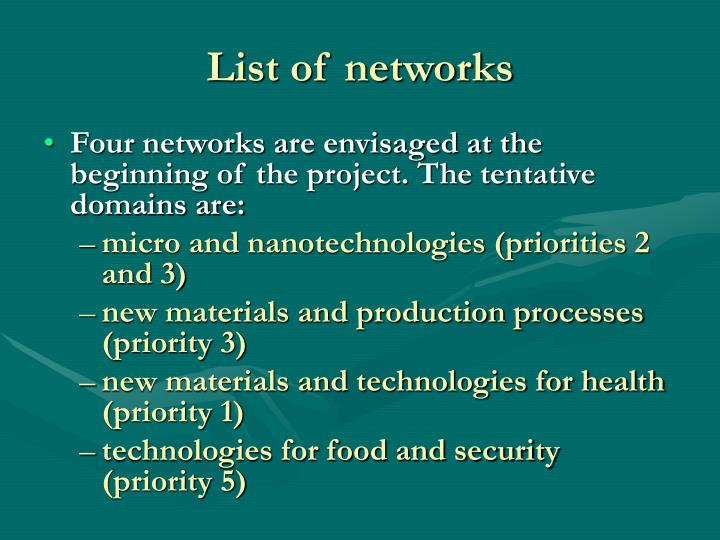 List of networks