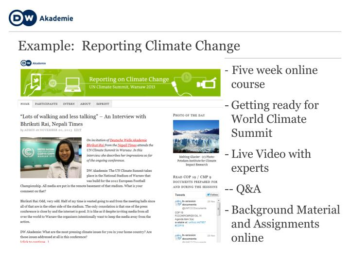 Example:  Reporting Climate Change