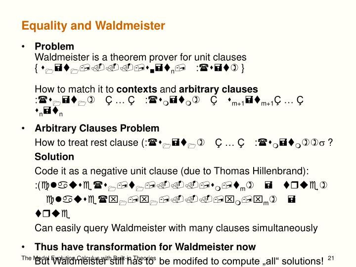 Equality and Waldmeister