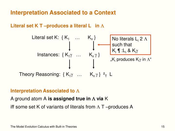Interpretation Associated to a Context
