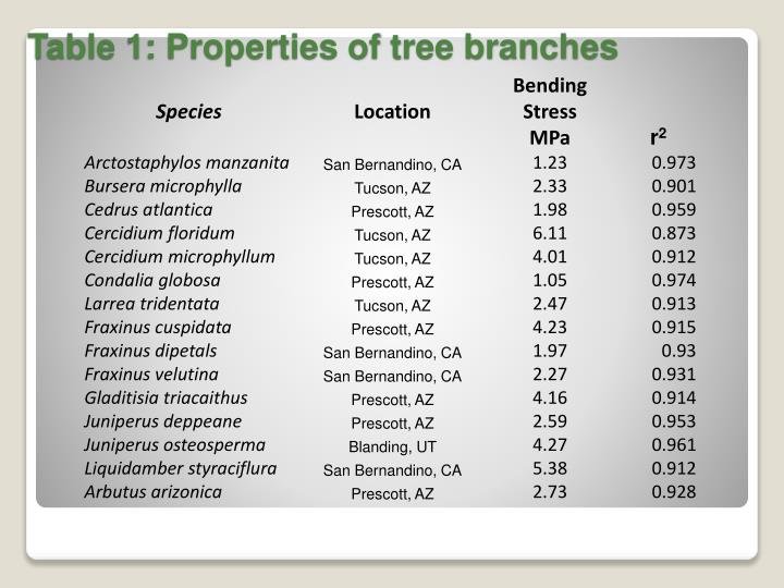 Table 1: Properties of tree branches
