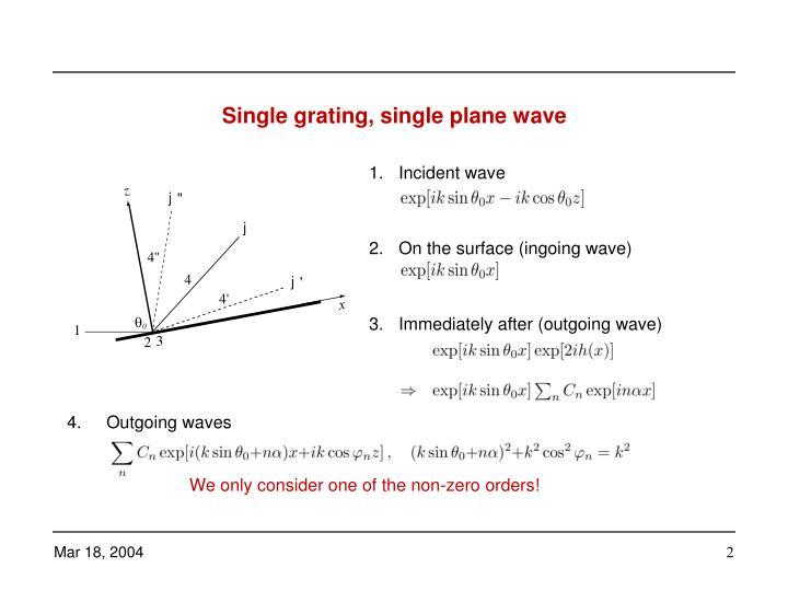 Single grating single plane wave