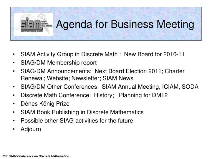 Agenda for business meeting