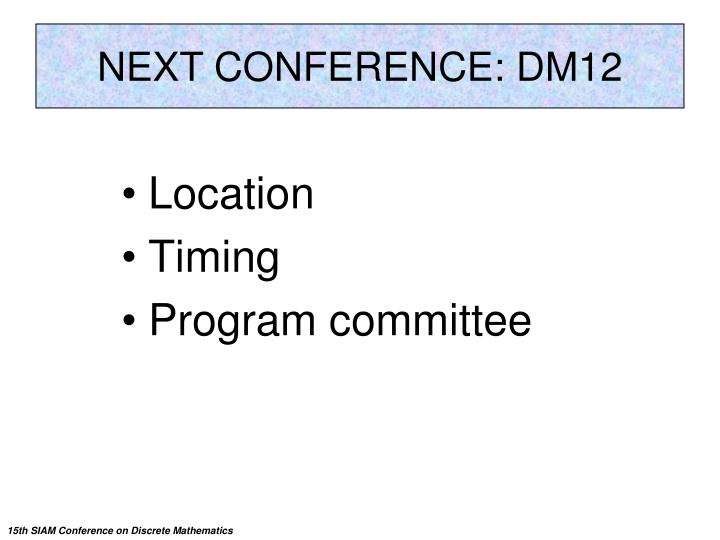 Next Conference: PP12