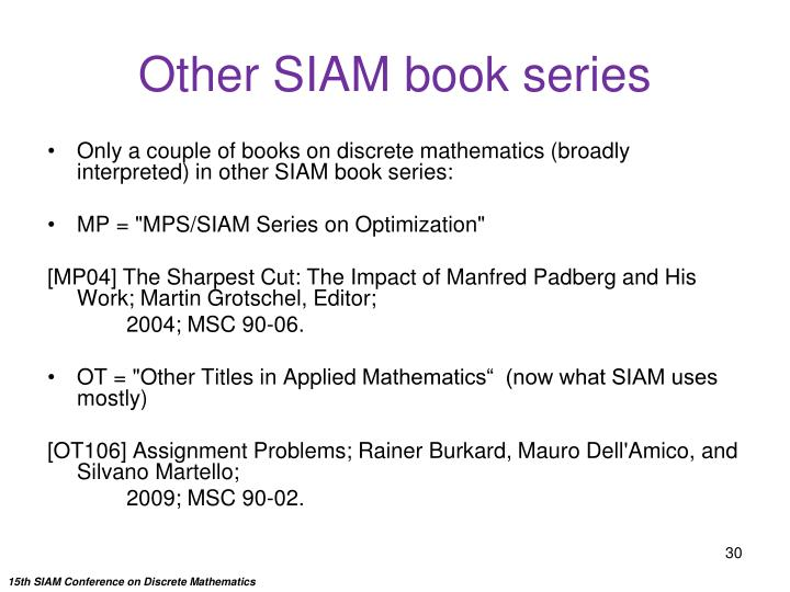 Other SIAM book series