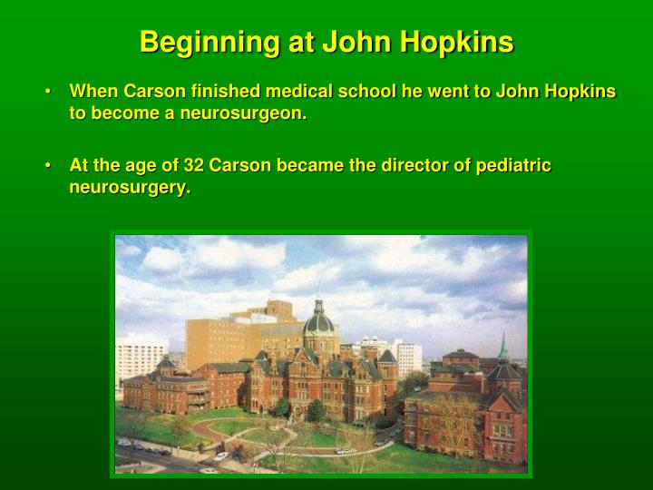 Beginning at John Hopkins
