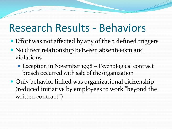 Research Results - Behaviors