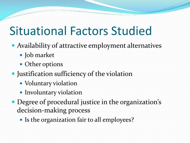 Situational Factors Studied