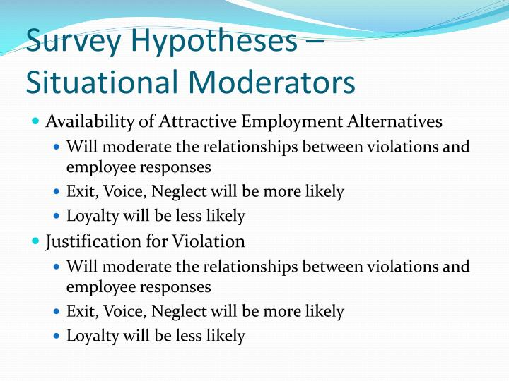 Survey Hypotheses – Situational Moderators