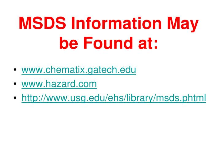 Ppt Msds Information May Be Found At Powerpoint Presentation Id