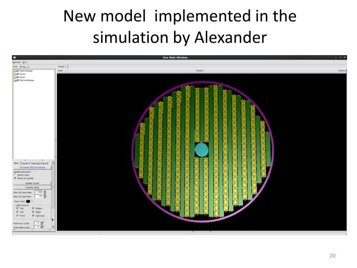 New model  implemented in the simulation by Alexander