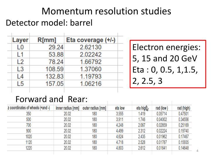 Momentum resolution studies