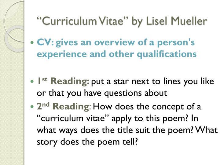 mueller curriculum vitae poem