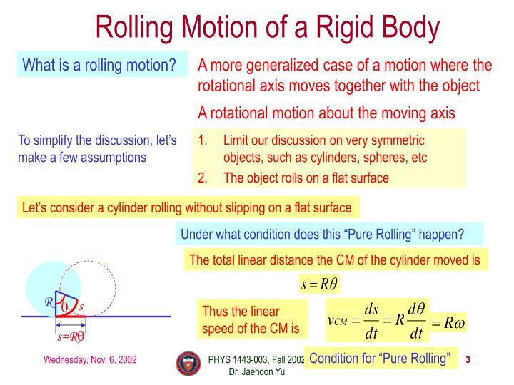Rolling motion of a rigid body