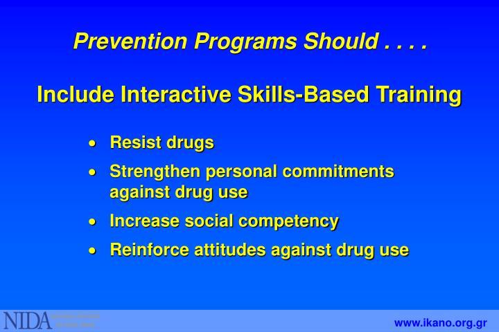 Prevention Programs Should . . . .